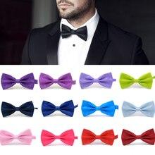 Мода 1 ШТ. Джентльмен Мужчины Классический Атлас Галстук-Бабочку Для Свадьбы Регулируемый