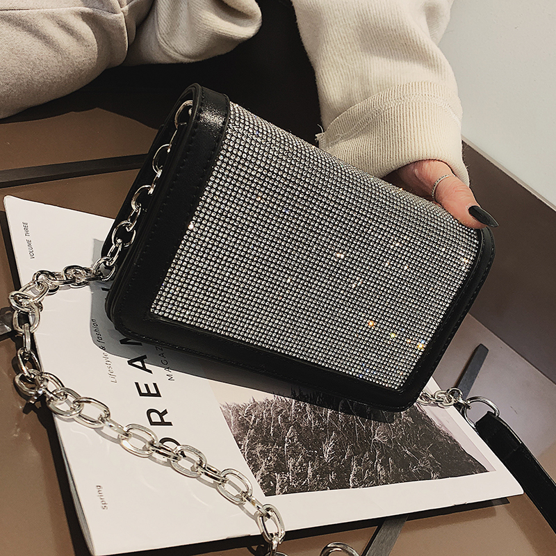 2019 Fashion New Ladies Square Bag Quality PU Leather Women's Designer Handbag Diamond Chain Shoulder Messenger Bag Party Bags