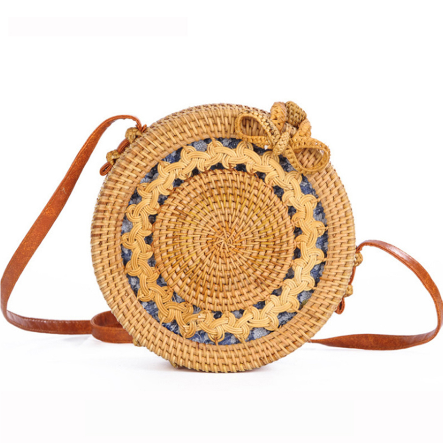 Handmade Woven Rattan Bag Women Straw Bag Bamboo Circular Beach Bags Summer Bali Bohemian Knitting Shoulder Bags Embroidery Tote