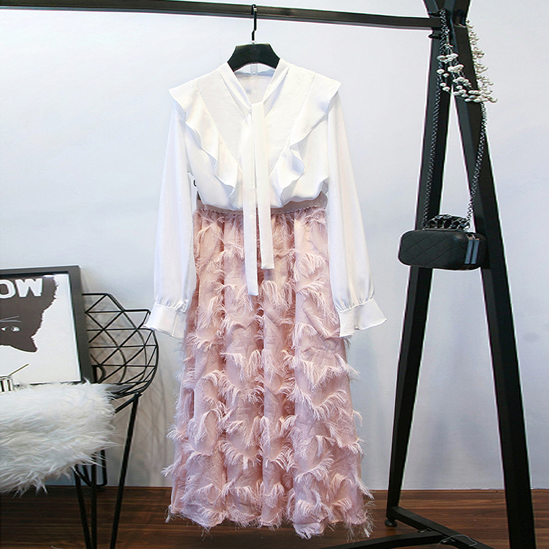 HIGH STREET New Stylish 2019 Runway Suit Set Women's Ruffle Blouse Shirt Tassel Skirt Set