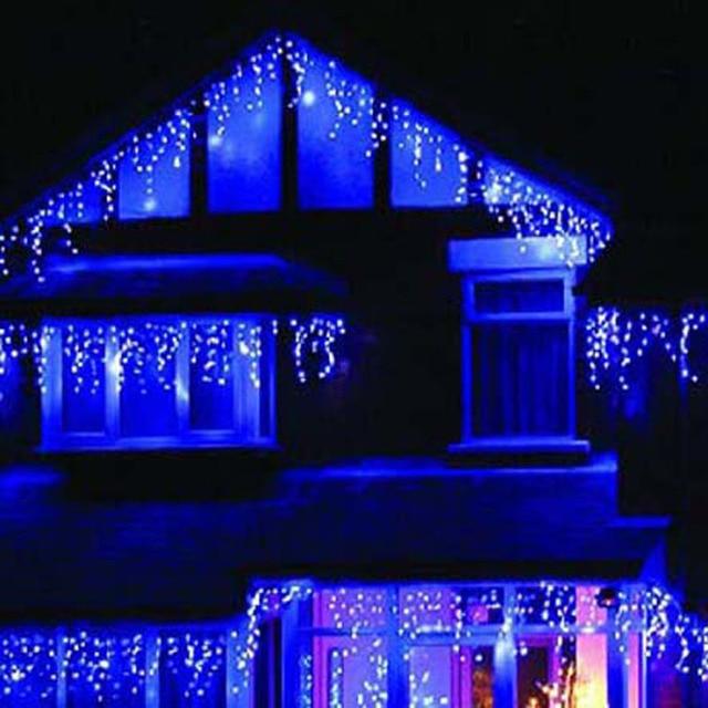 Led Azul Luzes De Natal Guirlande Lumineuse Exterieur Cena