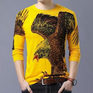 Image 5 - BONJEAN ฤดูใบไม้ร่วงแฟชั่นผู้ชายเสื้อกันหนาวแขนยาวรอบคอใหญ่ Eagle พิมพ์ผ้าฝ้ายถักบางเสื้อ
