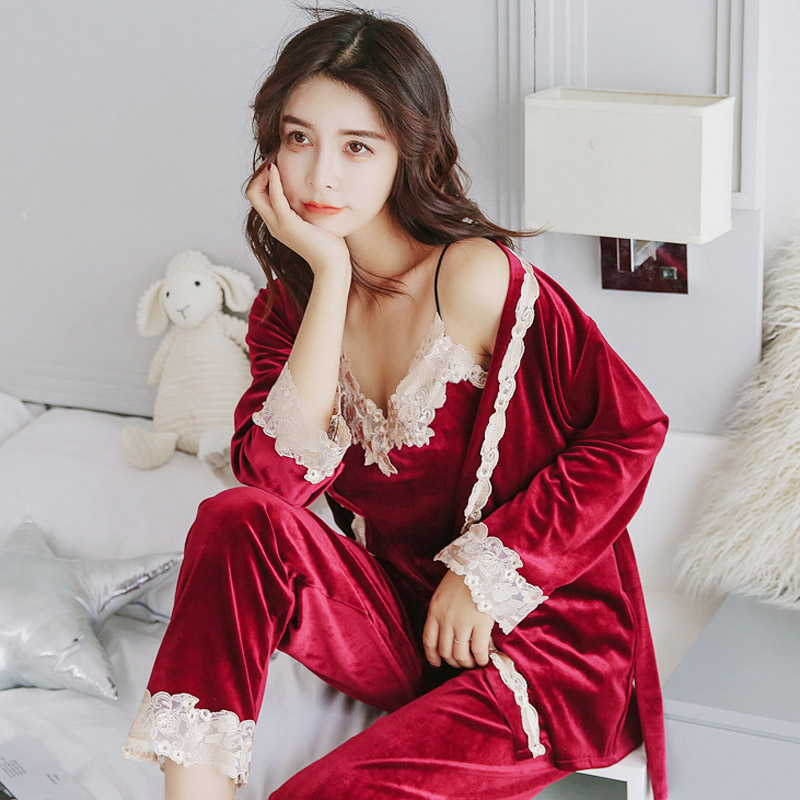 Yidanna Pajamas Set for women Sexy Sleepwear Lady Lace Nightwear Sleeveless Homewear Casual Long Pants Autumn Suit  Female Cloth-in Pajama Sets from Underwear & Sleepwears