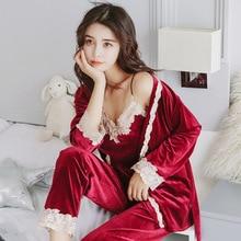 Yidanna Pajamas Set for women Sexy Sleepwear Lady Lace Nightwear Sleeveless Homewear Casual Long Pants Autumn Suit  Female Cloth