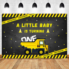 NeoBack Excavator Baby Boy 1th Birthday Party Photography Backdrops Under Construction Studio Shoots