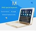 Para ipad air 2 ipad 6 moda 7 colores contraluz retroiluminado teclado de aluminio sin hilos de bluetooth con el soporte cubierta de la caja protectora