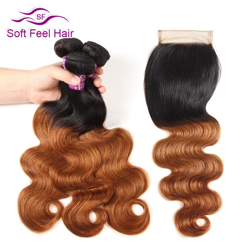 Soft Feel Hair Ombre Bundles With Closure 1B 30 Peruvian Body Wave 3 Bundles With Closure