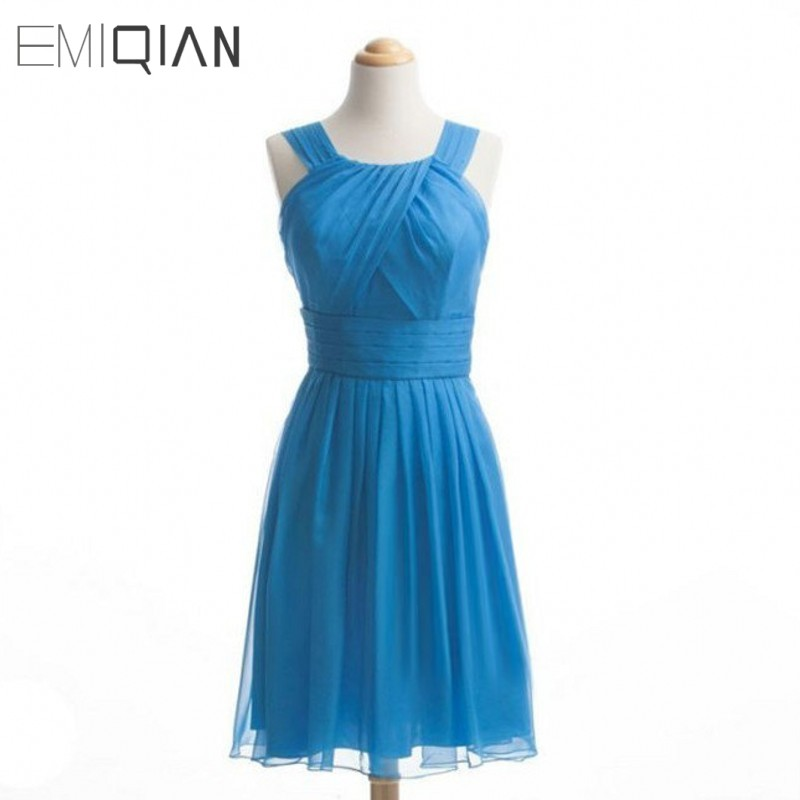 Freeshipping Real Photos Simple Scoop Pleated Knee-length Chiffon   Bridesmaid     Dress   for Wedding Party