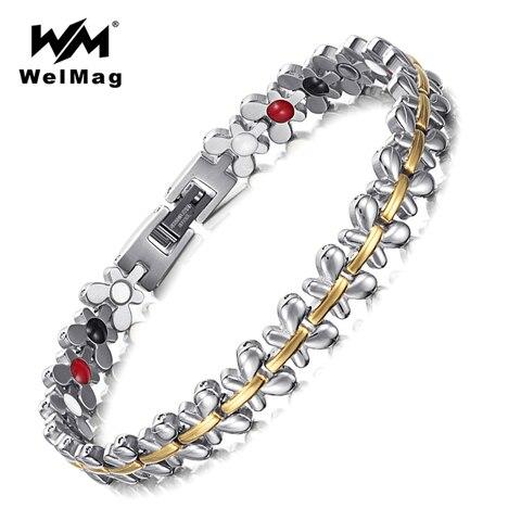 Новые женские браслеты welmag лечебные магнитные из нержавеющей
