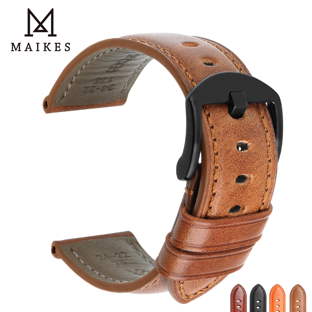 MAIKES Watch Strap Watch Accessories Watchbands 20mm 22mm 24mm Genuine Leather Bracelets For Samsung Gear Watch Band