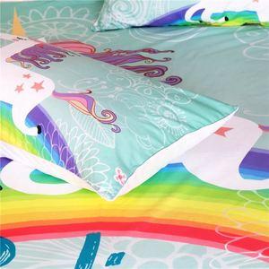 Image 2 - طقم سرير قوس قزح يونيكورن نعتقد المعجزات الكرتون واحدة الملكة سرير ملكي غطاء لحاف الحيوان للأطفال الفتيات 3 قطعة
