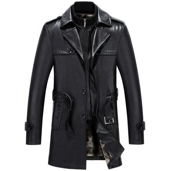 6677 New Fashion Men Winter Clothes Genuine Leather Coat Lamb fur Coats Sheepskin Leather Long Trench Coat
