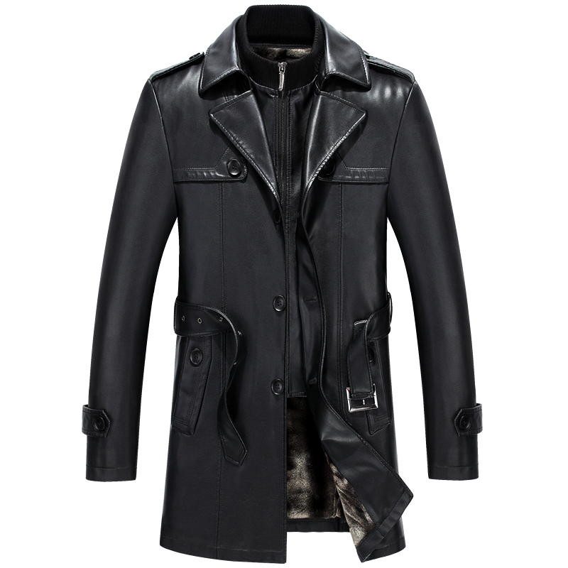 6677 New Fashion Men Winter Clothes Genuine Leather Coat Lamb fur Coats Sheepskin Leather Long Trench Coat