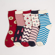 5 pairs of cotton socks, womens sweat absorption, lovely jacquard striped soft, warm calf length in autumn and winter.