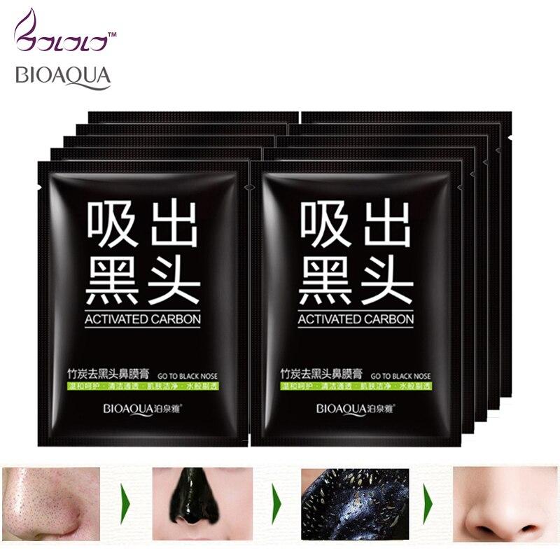 bamboo charcoal black mask BIOAQUA go black pig nose cleansing skin pores purifying peel off blackhead facial mask black head Комедон