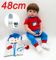 New mini 48cm about 1.5kg silicone limbs + soft cloth body baby reborn kit dolls in Handsome blue striped clothes lol boneca toy