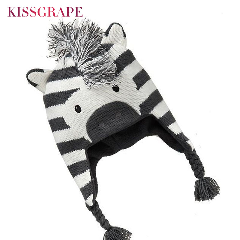 Baby Boys Winter Warm Hats Cartoon Zebra Pattern Caps Kids Knitted Caps Ear Flaps Beanies Children's Girls Cute Animal Sckullies
