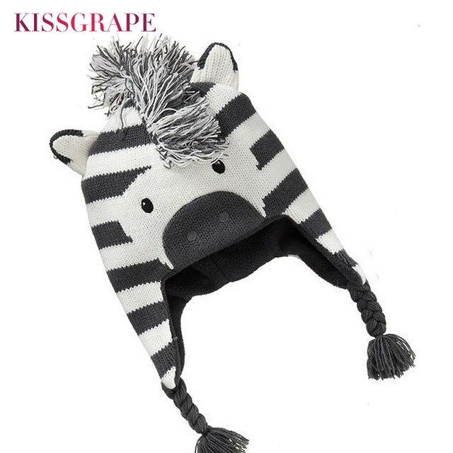 d26a00ff32a Baby Boys Winter Warm Hats Cartoon Zebra Pattern Caps Kids Knitted Caps Ear  Flaps Beanies Children s Girls Cute Animal Sckullies