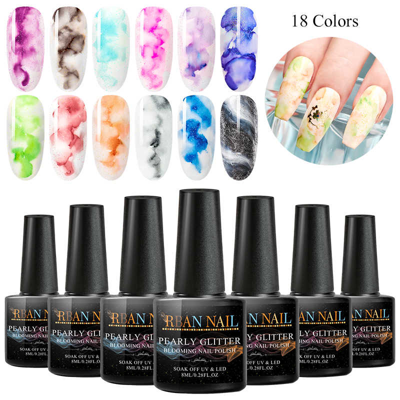 RBAN NAIL 8ml Blooming Nail Gel Polish Watercolor Ink Smoke Effect Marble Smudge Lquid Gradient Lacquer Gel DIY Varnish Manicure
