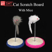SMARTPET Sisal Pet Cat Scratch Board Kitten Mouse Toy Cats Climbing Spring Pad Feather False Supplies