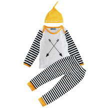 New Boy's Autumn STRIPE Double Arrow Three Piece Suit Unisex Baby Girls Cotton Stripy Winter Long Sleeved Outfits Clothing Set