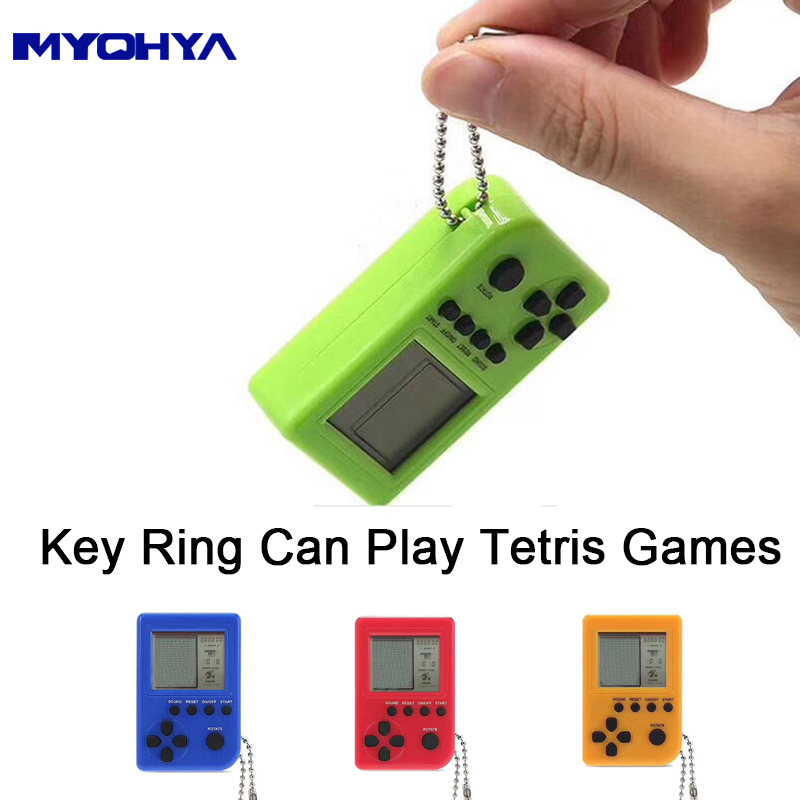 Myohya Tetris Mini Child video Game Console capsule toy twisted egg Built-in 26 Games Use for Key Chain Ring Holder Kids Gift