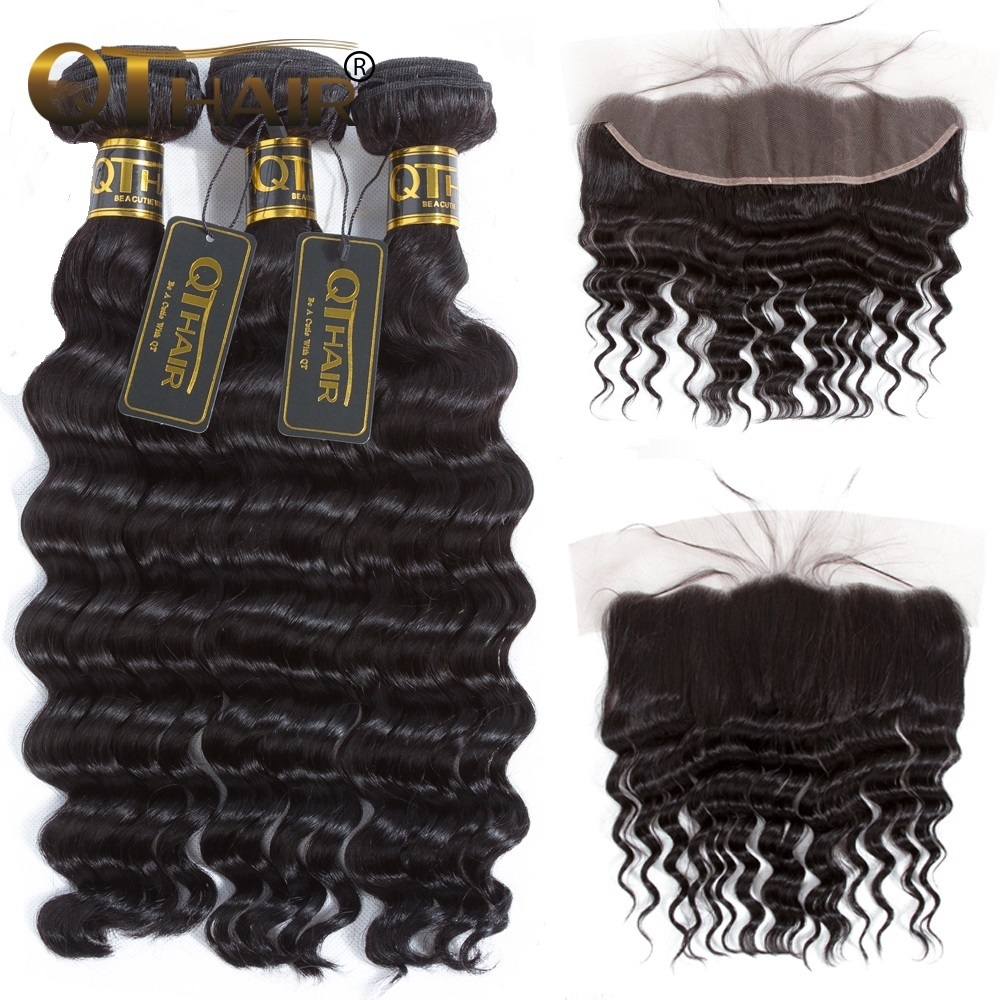QT Hair 13x4 Lace Frontal Closure With Bundles Malaysian Loose Deep More Wave Human Hair Bundles With Lace Closure Non-Remy