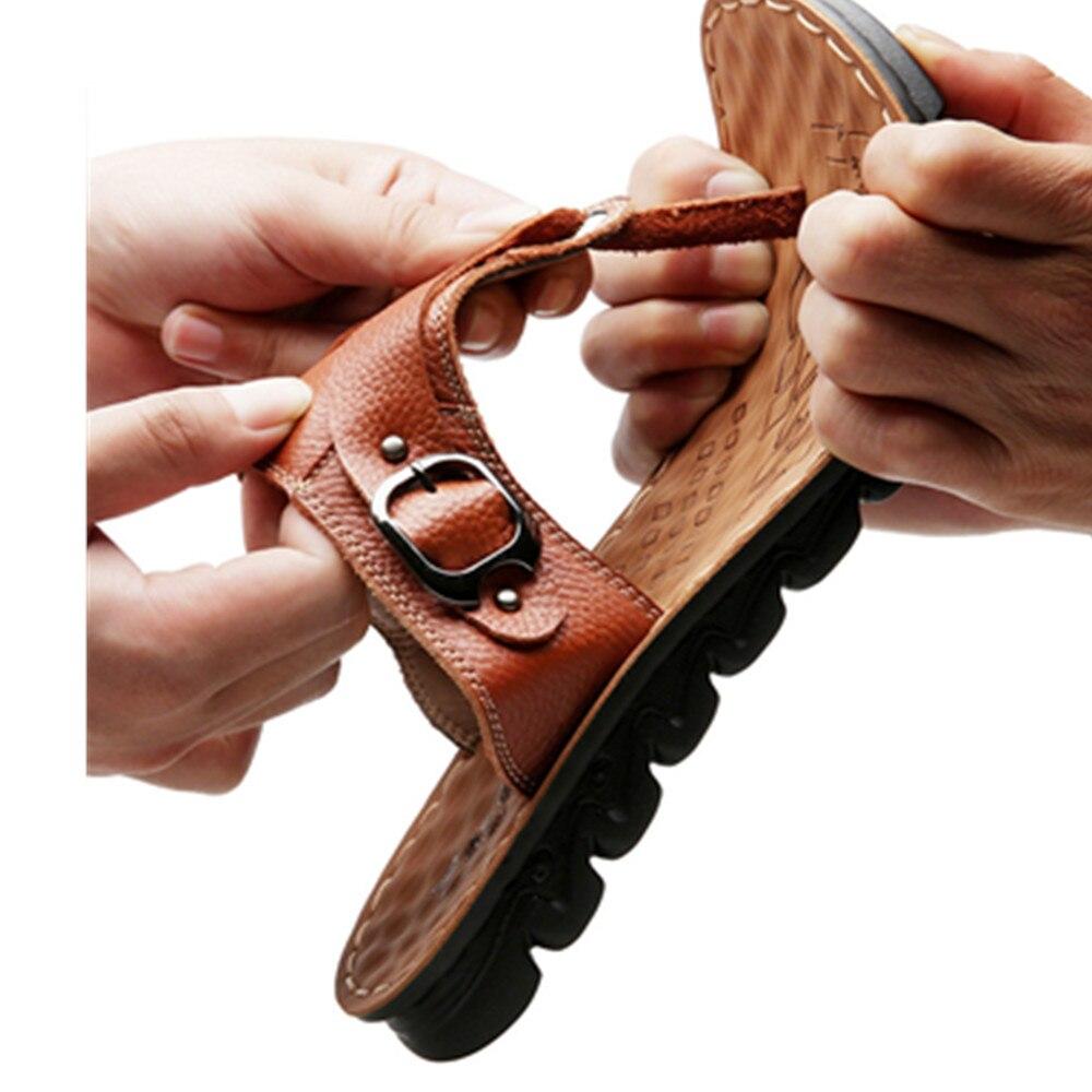 Ouvert Mode 14206brown Sandales D'été Brun De Bout Chaussures Hommes Plage En Mâle Pantoufles Brown Noir 2018 Maison Flip Flops Véritable Cuir 14206yellow ZzwqHwWf