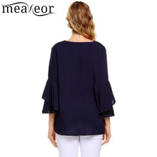 Meaneor Autumn Women Blouse Shirt 3/4 Flare Sleeve V Neck High-low Hem Shirts Pullover Solid Loose Tops Casual Ladies Blusas