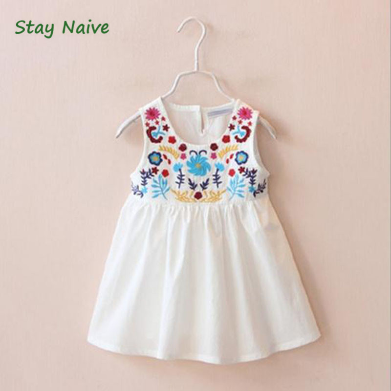 New 2017 children spring and summer dress girl delicate embroidery vest children's clothing child girl dress 2017 new children