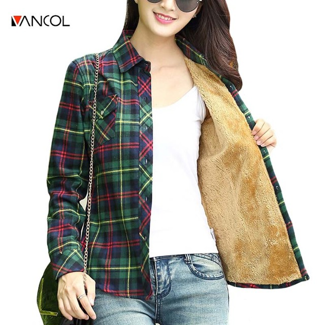 vancol 2016 plus size women clothing long sleeve thick warm fleece plaid tartan shirt autumn fashion cotton blouse women xxxxl
