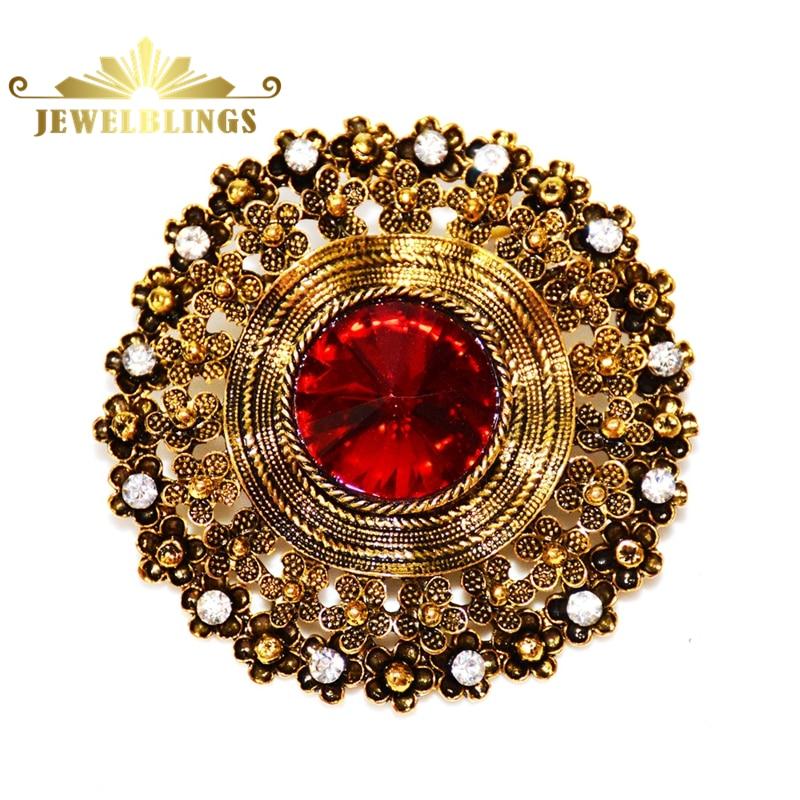 Edwardian ékszer kupolás piros kristály kő kerek bross arany tónusú filigrán kötél karika Vintage virágos kitűző tű férfi ruha