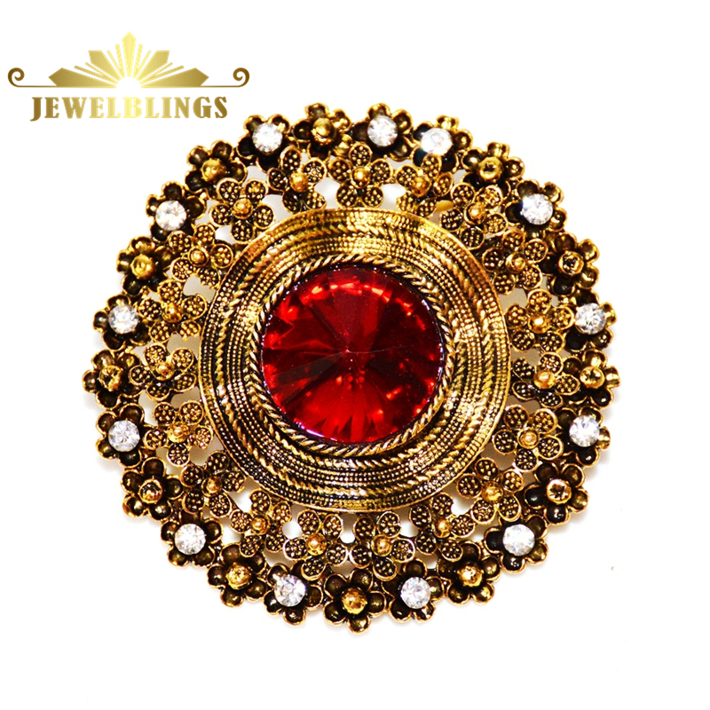 Edwardian Jewelry Domed Red Crystal Stone Round Brooches Gold Tone Filigree Rope Circlet ...
