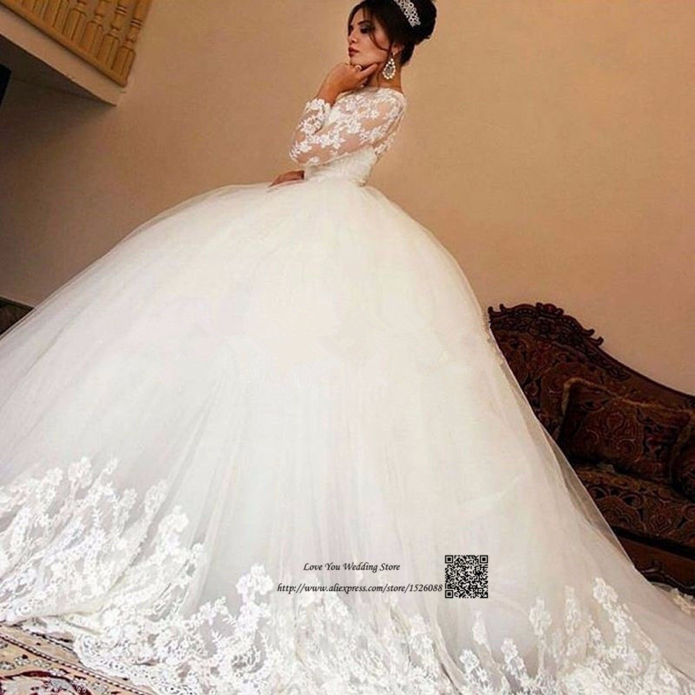 Robe de Mariage Gorgeous Long Sleeve Wedding Dress Lace Ball Gown Wedding Gowns Vintage Church Bride