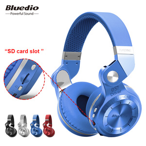 Bluedio T2+ fashionable foldable over the ear bluetooth headphones BT 4.1 support FM radio& SD card functions Music&phone calls(China)