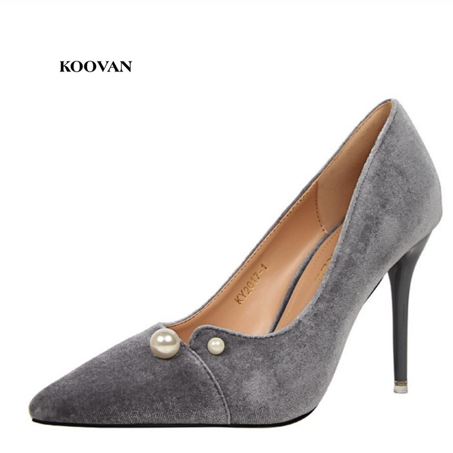 Koovan Women Pumps 2017 Fashion Wind Sexy Banquet Women's Shoes With High-heeled Shallow Mouth Pointed Suits Pearl Hollow Pants bigtree spring autumn sexy banquet women pumps shallow mouth pointed suede pearl hollow 9 cm fine high heels shoes