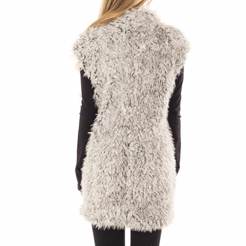 여자 플러시 가을 겨울 가짜 모피 민소매 조끼 따뜻한 숨겨진 포켓 코트 양 캐시미어 조끼 조끼 유지