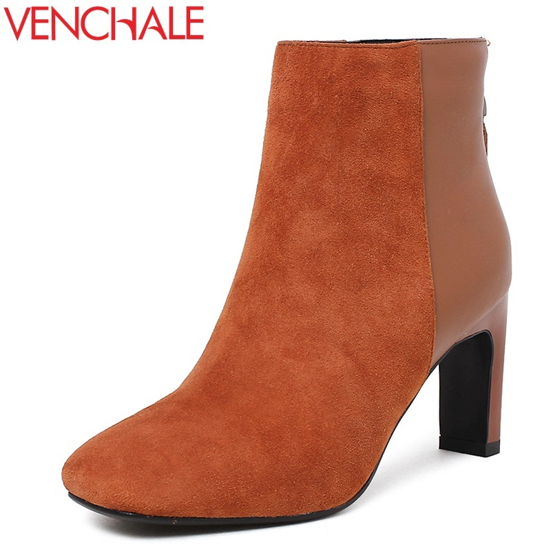 VENCHALE fashion boots woman high heels genuine leather booties square toe kid suede fashion ankle boots short plush solid color front lace up casual ankle boots autumn vintage brown new booties flat genuine leather suede shoes round toe fall female fashion