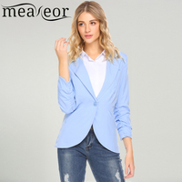 Meaneor Women 3 4 Sleeve Lapel Casual Blazer Single Breasted Jacket Outwear Suit 2018 Spring New