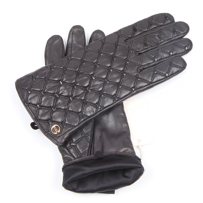 Autumn Winter New Woman's Real Leather Gloves Imported Sheepskin Classic Square Embroidery Warm Thin Female Gloves EL037NN