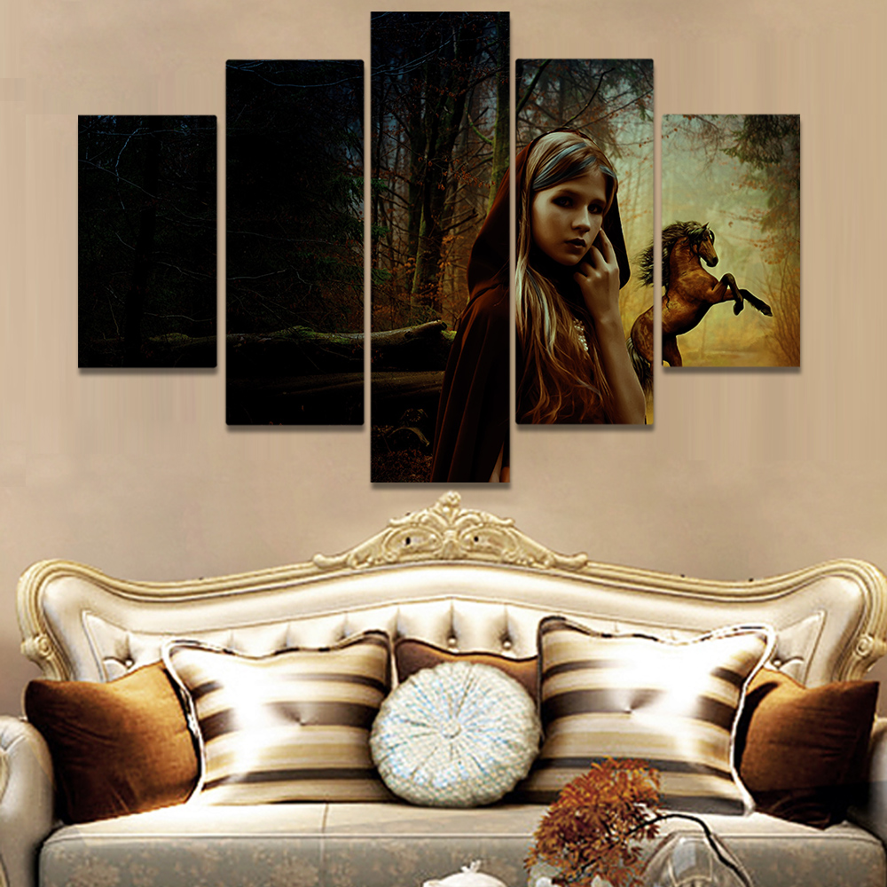 Unframed Canvas Painting Jungle Trees Little Girl Horse Picture Prints Wall Picture For Living Room Wall Art Decoration