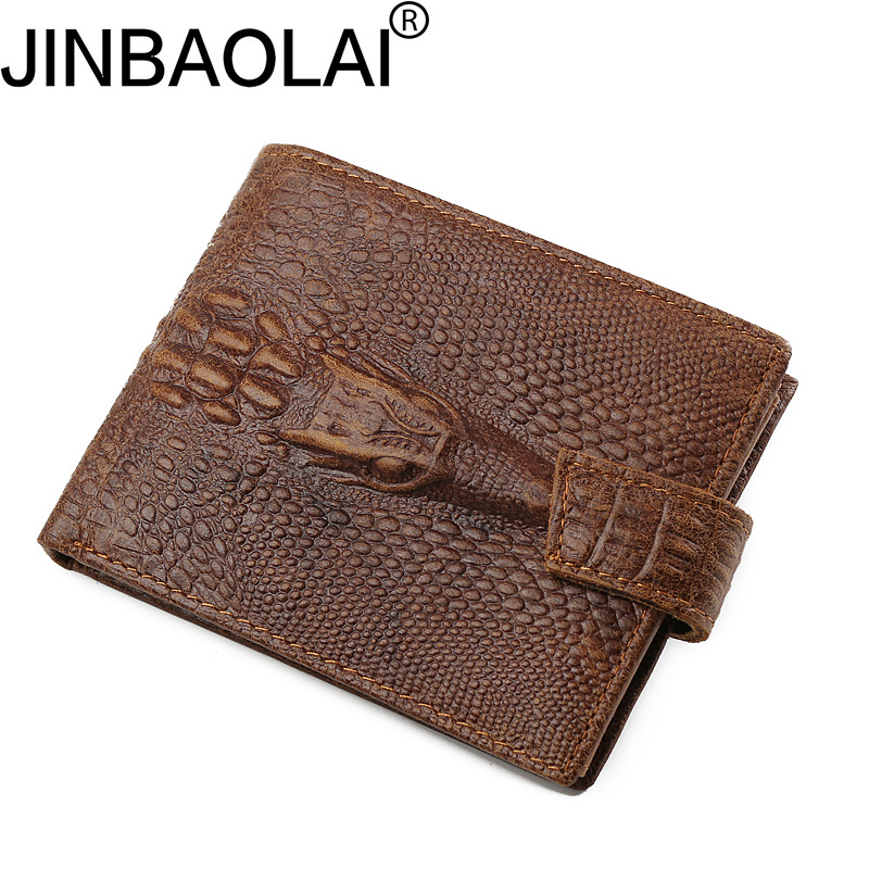 JINBAOLAI Brand Vintage Alligator Men Genuine Leather Wallets Male Coin Pocket Purse Hasp Wallet with Card Holder for Men ms brand men wallets dollar price purse genuine leather wallet card holder designer vintage wallet high quality tw1602 3