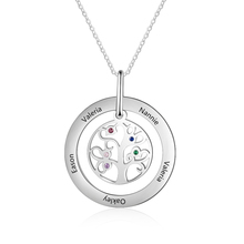 Customized Necklace Tree Shape Engraved 5 names Inlay Birthstones Stainless Steel Fashion Jewelry Gift for Women ( NE103243)