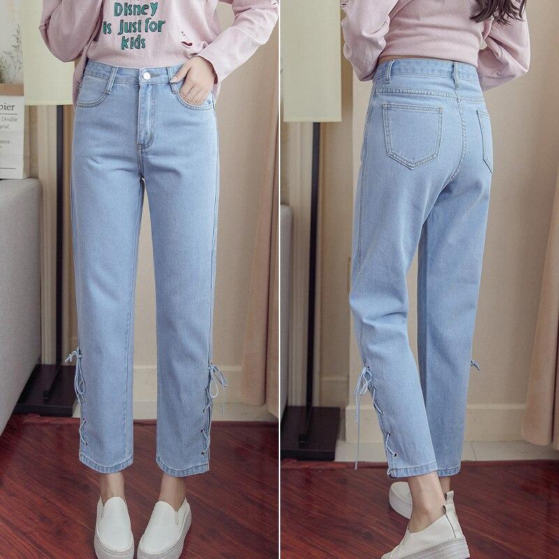 Women 39 s Wide Leg Pants High Waist Flare Jeans New2019 Women 39 s Navy Blue Irregular Denim Elastic Waist Pants Women 39 s Jeans Trouse in Jeans from Women 39 s Clothing