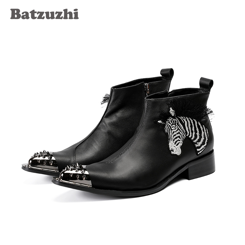 Batzuzhzi New Handmade Botas Hombre Pointed Iron Toe Safety Boots Men Black Genuine Leather Ankle Boots Appliques Party Boots!