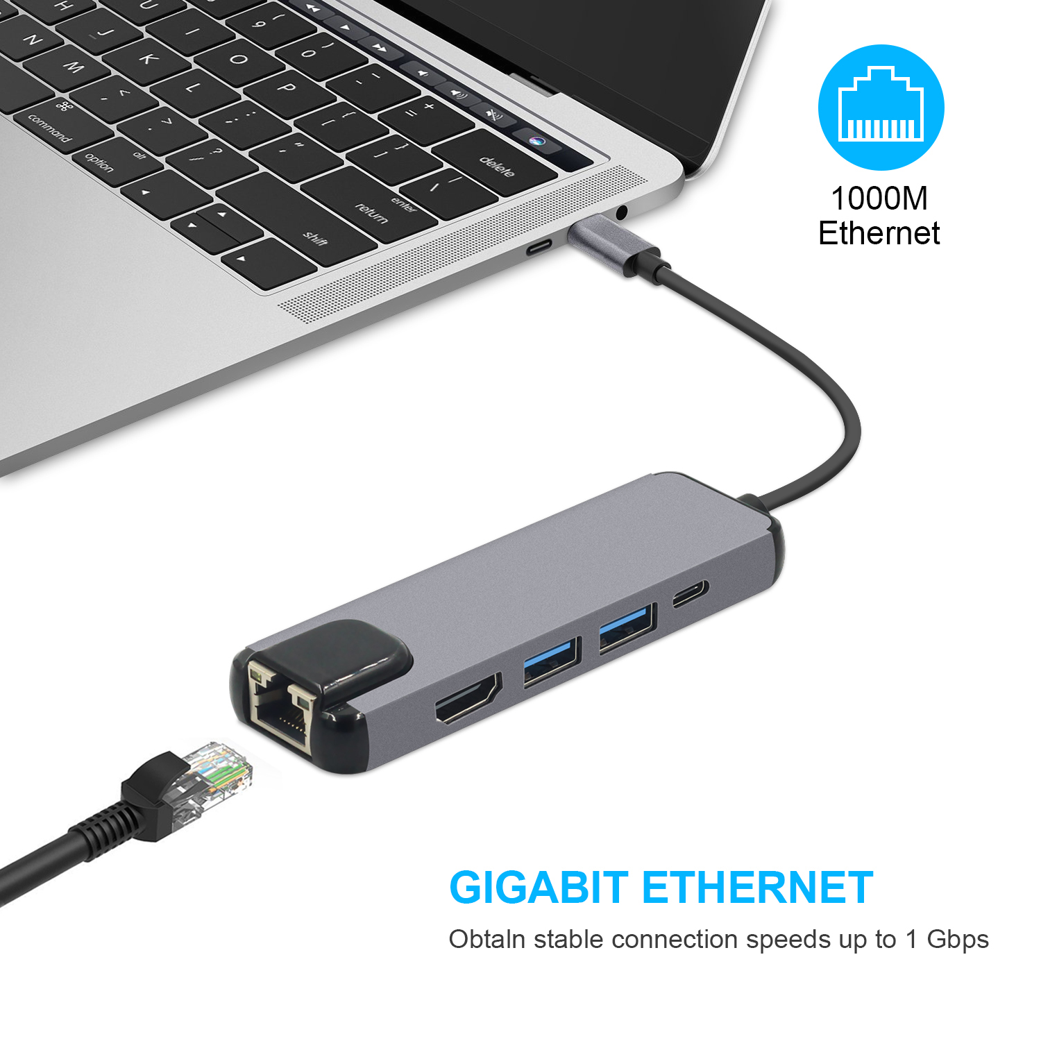цена 5 in 1 USB C Hub to HDMI Gigabit Ethernet Rj45 Lan Adapter for Macbook Pro iPad Pro 11 12.9 2018 Thunderbolt 3 Type c Hub