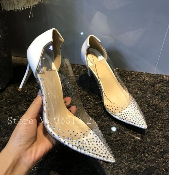 Bout Chaussures Plexi Aiguilles Tendance Heel Talons Pvc Heel 10cm Pointu Robe Shiny Strass 10cm Couvert Heel 12cm Partie Cristal Femme Mince Hauts 10cm Clair r06OqrFTz