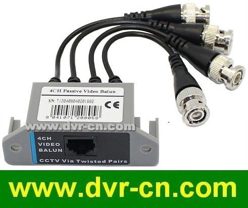 4 channels CCTV BNC Video Balun, RJ45 port ,UTP Cable transfer, Plug and Play, 4 pcs/lot