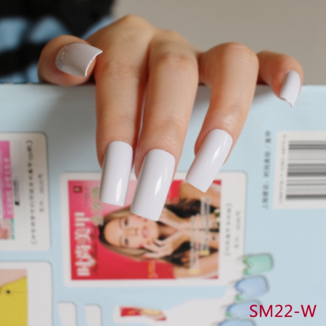 20Pcs Candy Fasle Nails Pure White Flat Fake Nails Manicure Nails ...