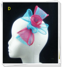 Free shipping 17color sinamay fasinctor hats elegant women hair fascinator with feather bridal hair accessories party